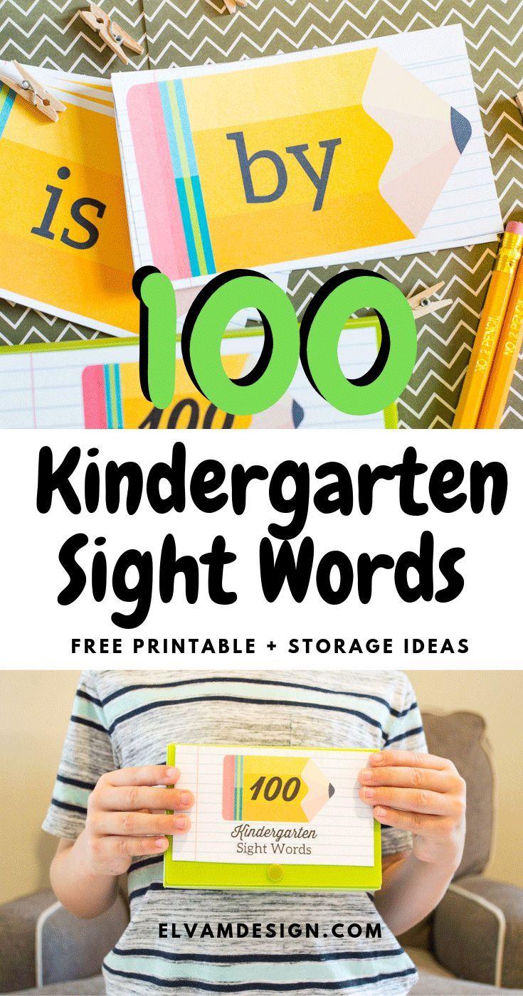 kindergarten flash cards sight words