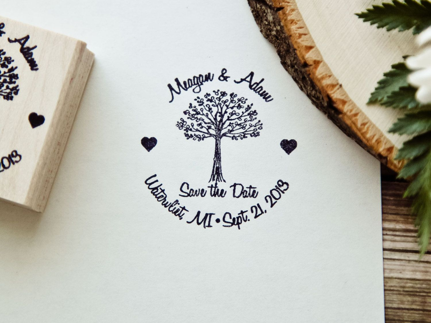 Custom Rubber Stamp, Personalized Rubber Stamp, Save The Date Tree ...