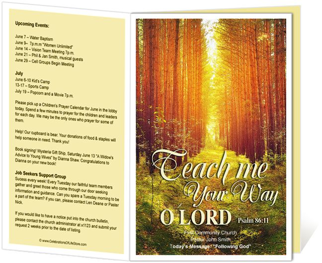 marvelous Church Bulletin Cover Ideas Part - 14: Church Bulletin Templates : Woods Church Bulletin Template with bible verse  Psalm 86:11, Teach me your way O Lord.