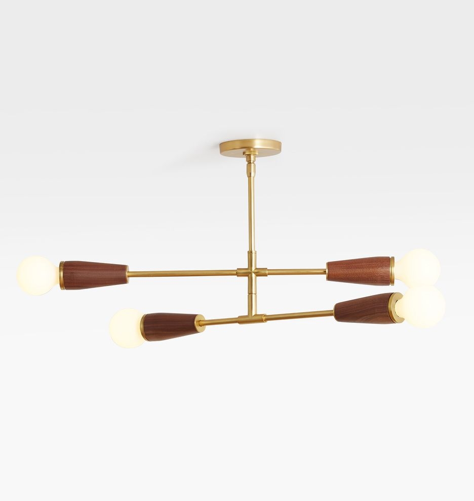 Altona Aged Brass Walnut Barebulb Semi Flush Ceiling Fixture In