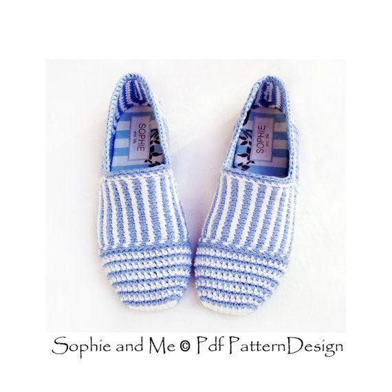 Canvas Striped Slippers/Espadrilles Basic Slipper Crochet   вязаная ...
