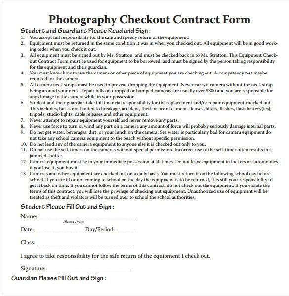 Free Photography Checkout Contract Form , 20+ Photography Contract - photography contract template