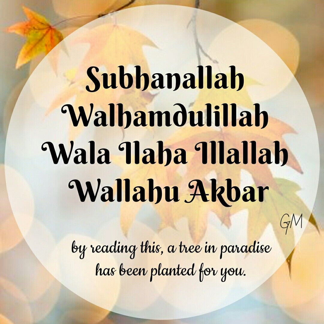 Subhanallah Walhamdulillah Wala Ilaha Illallah Wallahu Akbar