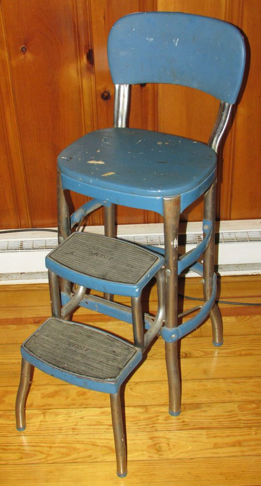 Vintage Cosco Industrial Metal Step Stool Chair Blue Mid