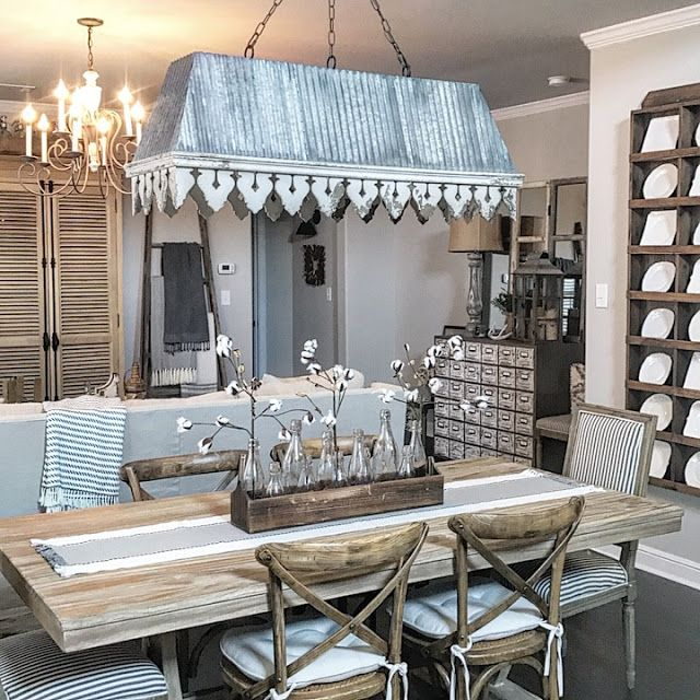 Modern farmhouse style dining room and living room galvanized chandelier plate rack farmhouse farmhouse dining tablesfarmhouse kitchenscottage