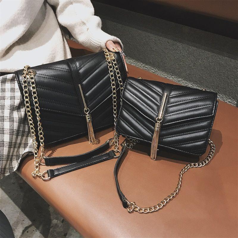 915858feac99b Fashion Tassel Women Bag Luxury Brand Designer Women Chain Leather Handbag  Shoulder Bags Women Clutch Crossbody Bags Two Size