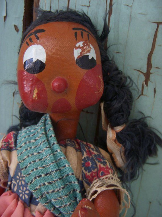 vintage ethnic doll dark skin spanish mexican folk art