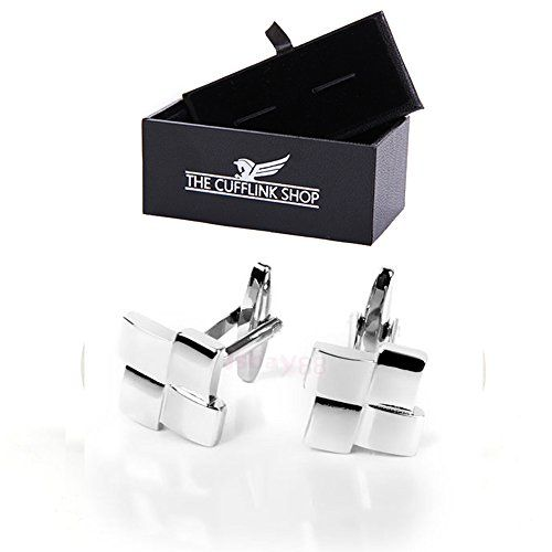Mens Classic Design Stainless Steel Silver 4 Squares Cufflinks with Luxury Gift…