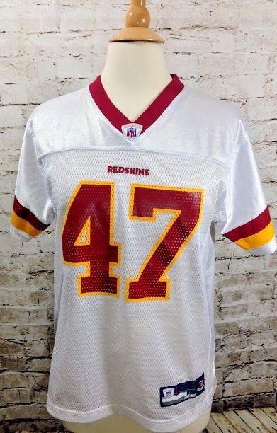a0b8574aa NFL Football REDSKINS White Jersey  47 Chris COOLEY Youth Sz 14-16 Large  REEBOK  Reebok  WashingtonRedskins