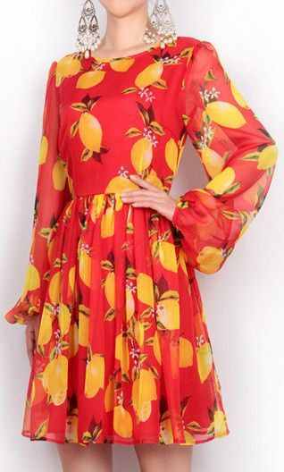 Image result for photos of orange and lemon print dresses