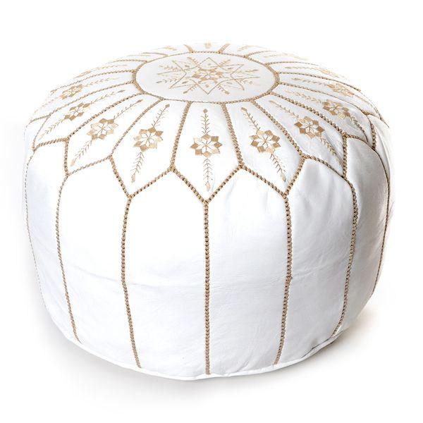 White Pouf Ottoman Moroccan Flower Leather Pouf Round White Embroidered Ottoman