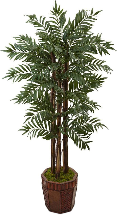 df24eb65c45 Nearly Natural 4.5  Parlour Palm Artificial Tree in Bamboo Planter   artificial palm features