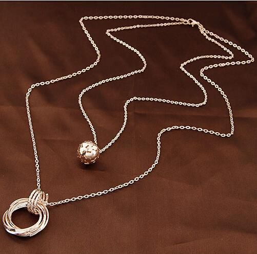Aliexpress.com: Comprar Oro / plata plateó la cadena del doble bolas de los  círculos collares largos y colgantes de moda Colares declaración Femininos  ...