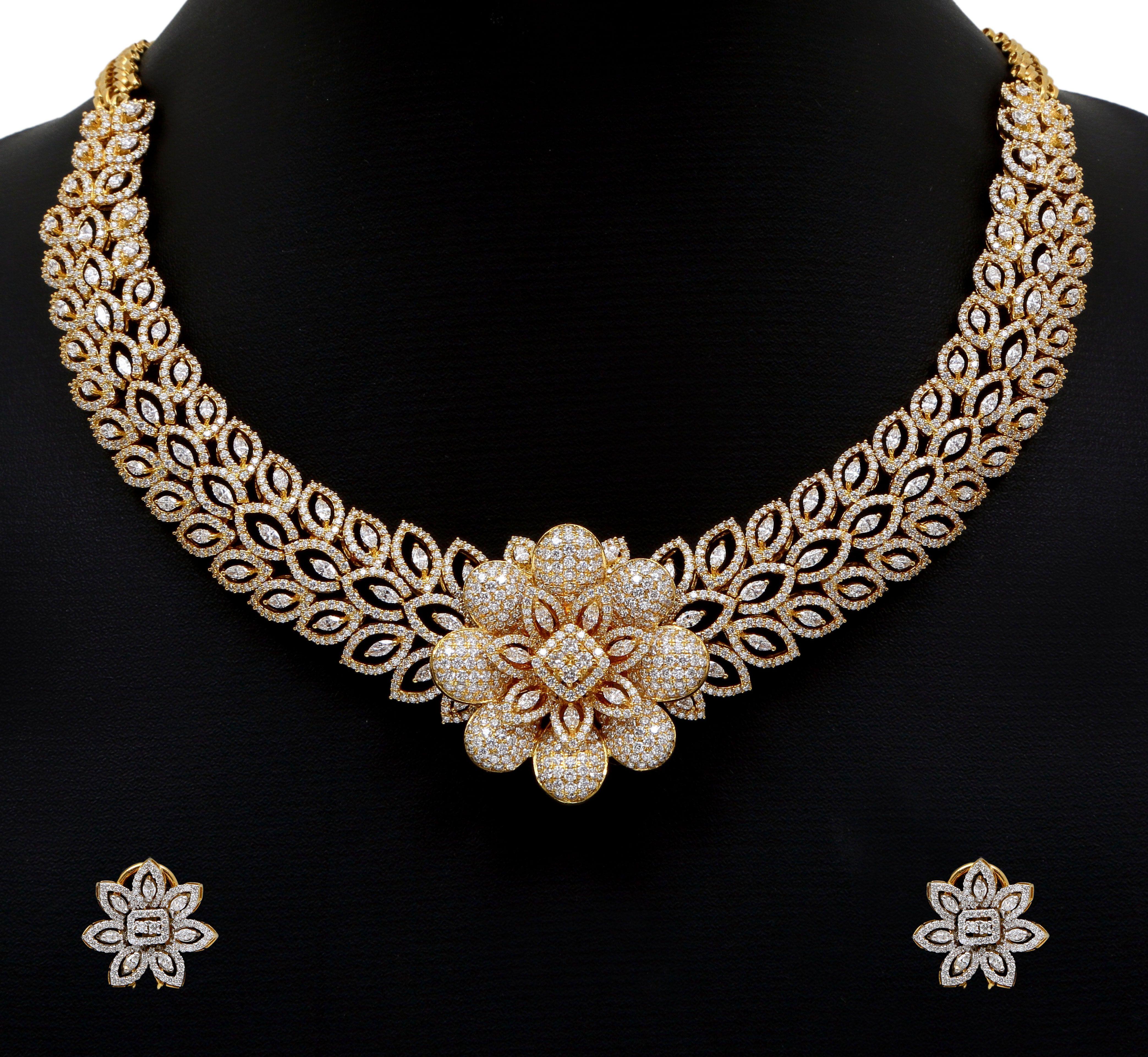 Diamond necklace floral diamond necklace set gems and glitter