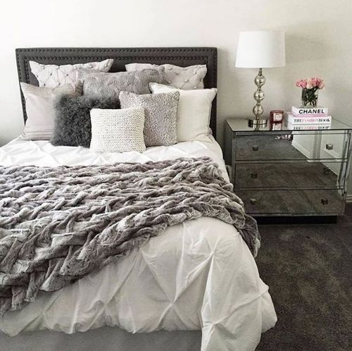 Home decor pinterest bedrooms room and apartments Master bedroom with grey furniture