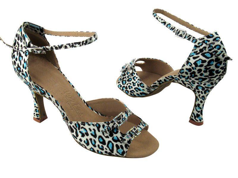 Blue Leopard Black Silver Metallic Salsa Formal Holiday Prom Fine Dance Shoes  #VeryFineShoes
