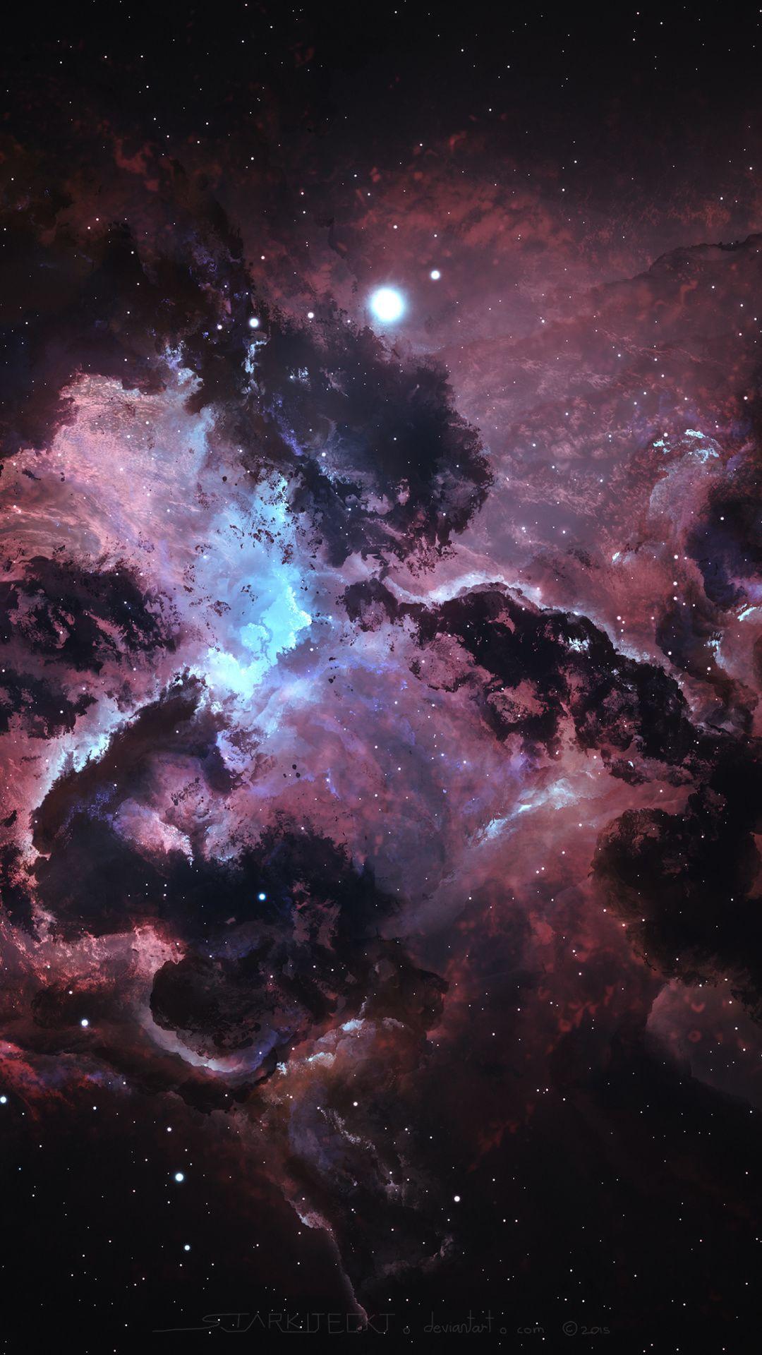 Nebula, dark, space, stars, clouds, art, 1080x1920 wallpaper