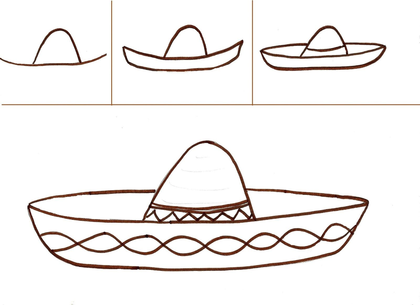 5/5/13 Sombrero drawing how-to. Could use for Cinco de Mayo. We did ...