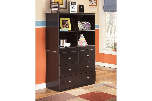 Merlot Wooden Cubby Bookcase Storage Area On Top Of Dresser Drawers For Child S Bedroom Furniture Open Bookcase Multipurpose Furniture