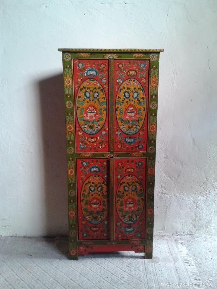 Antiguo armario tibetano rinconera mueble auxiliar for Muebles tibetanos