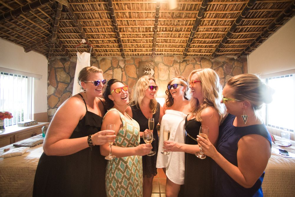 Bridal Party Champagne Toast Casey Ben Wedding Los Barriles Mexico Juan Carlos
