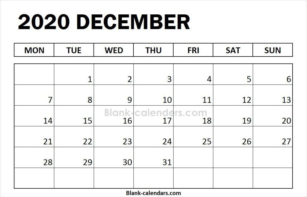 Editable December 2020 Calendar Starting On Monday Blank December Calendar 2020 Monday Start | 2020 Calendar