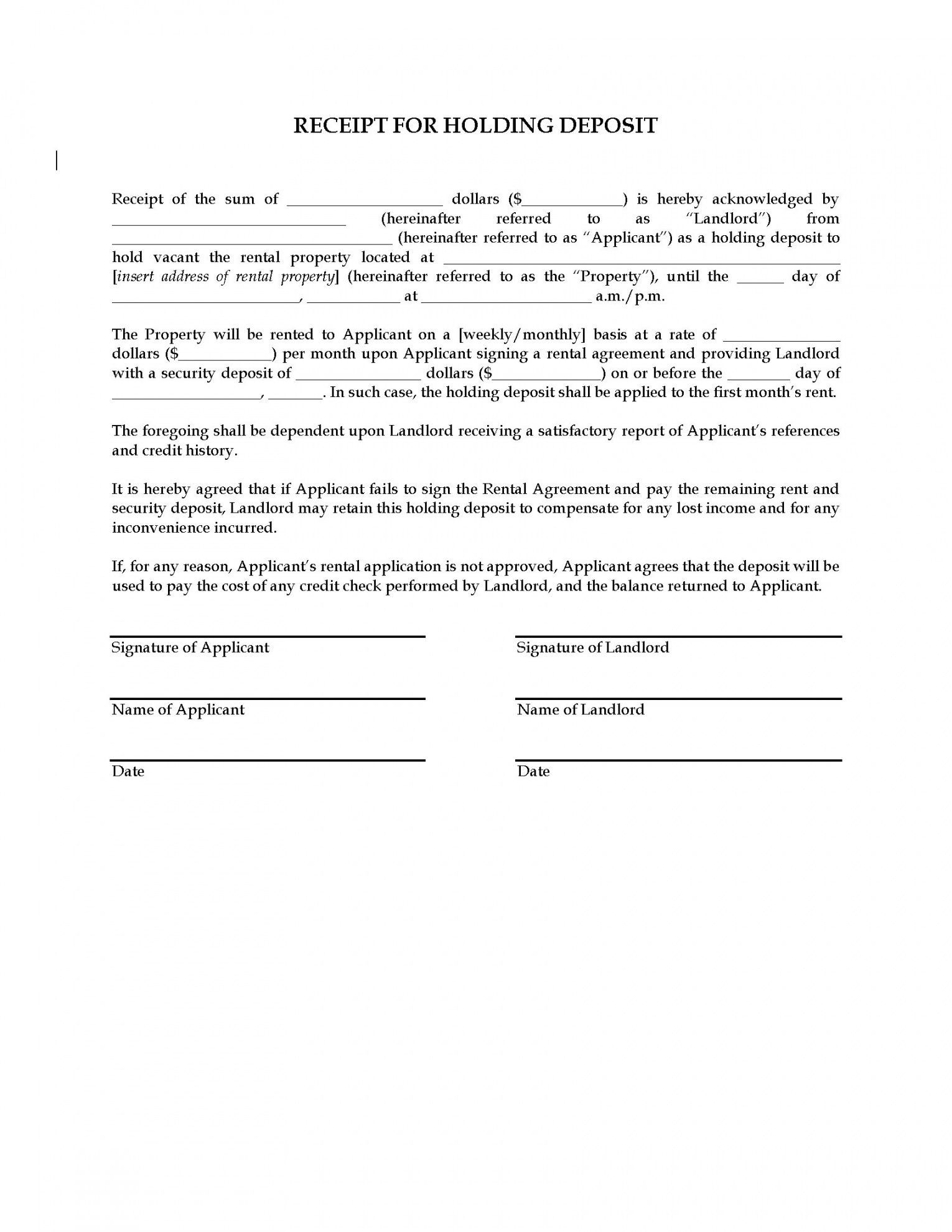 Browse Our Sample Of Holding Deposit Agreement Template For Free Rental Agreement Templates Being A Landlord Deposit