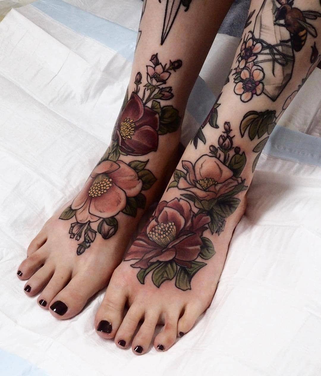 foot tattoo girl Foottattoos Leg tattoos women, Leg
