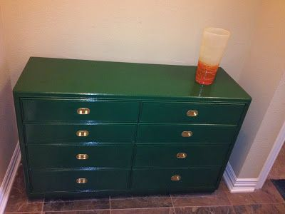Drexel dresser painted Rustoleum Hunter Green