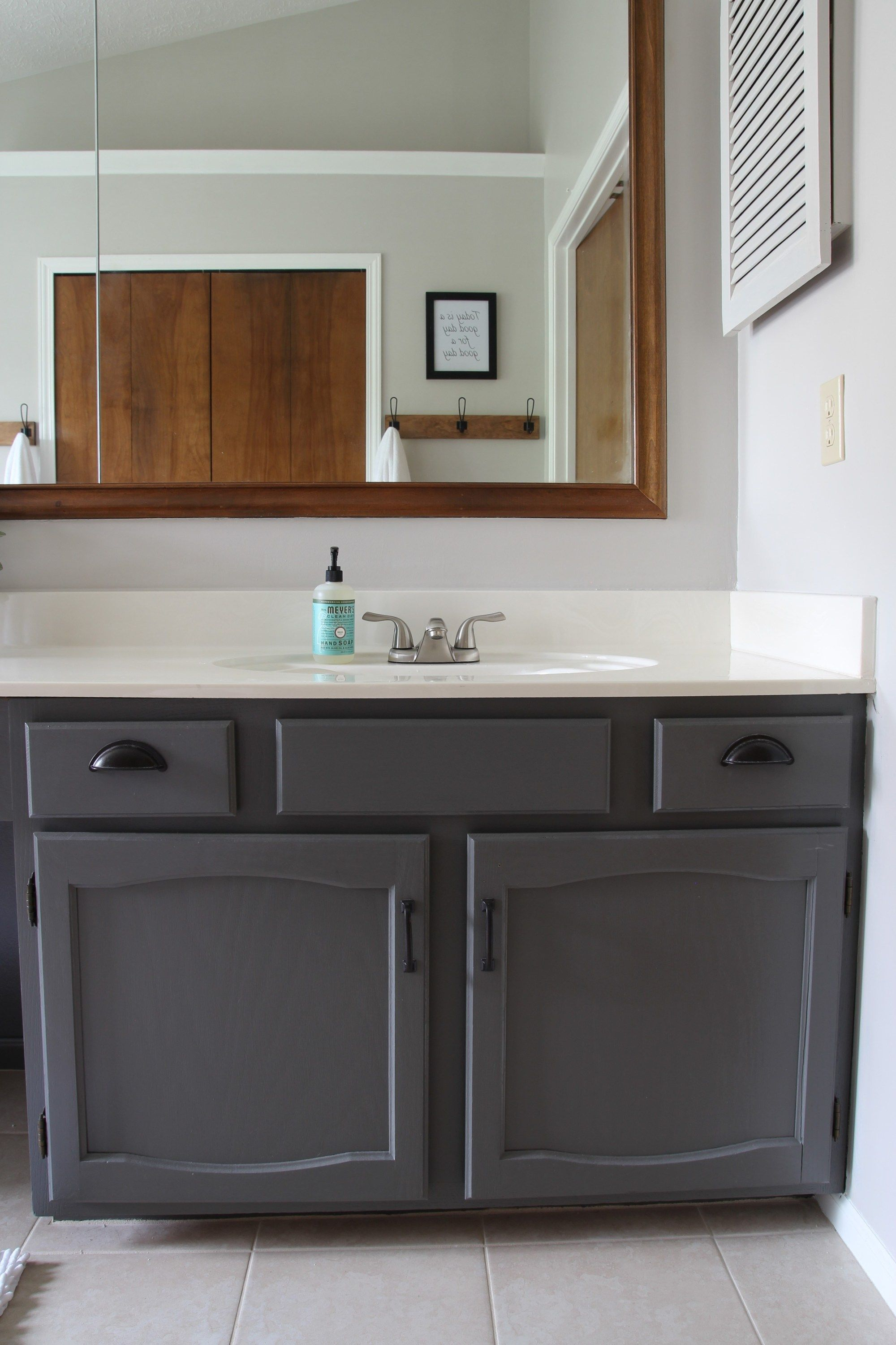 How to Paint Dated Oak Cabinets | Oak bathroom cabinets ...