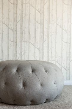 Great Refined Urban Birch tree wallpaper tufted ottoman Interior Design by Karen Kempf Interiors