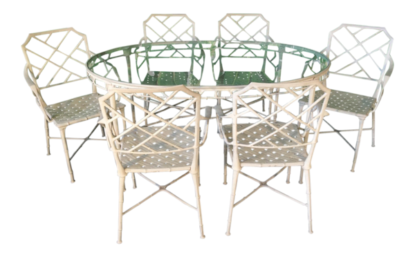 Calcutta Metal Faux Bamboo Dining Table