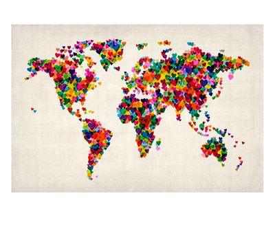 Love Hearts Map of the World Map Impressão giclée premium por Michael Tompsett na AllPosters.com.br