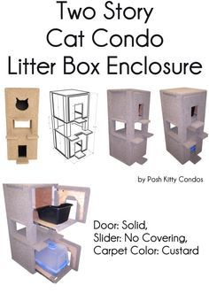 Two Story Cat Condo And Litter Box Enclosure Door: Solid / Solid .