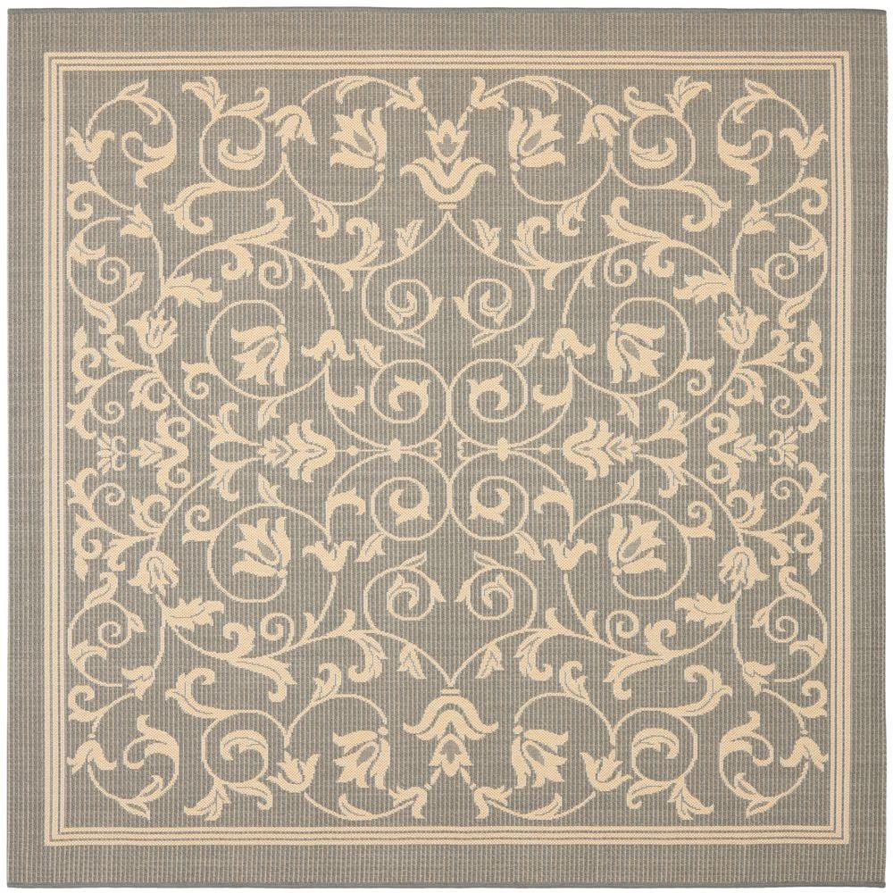 Safavieh Courtyard Gray Natural 8 Ft X 8 Ft Indoor Outdoor Square Area Rug Cy2098 3606 8sq Square Area Rugs Area Rugs Indoor Area Rugs