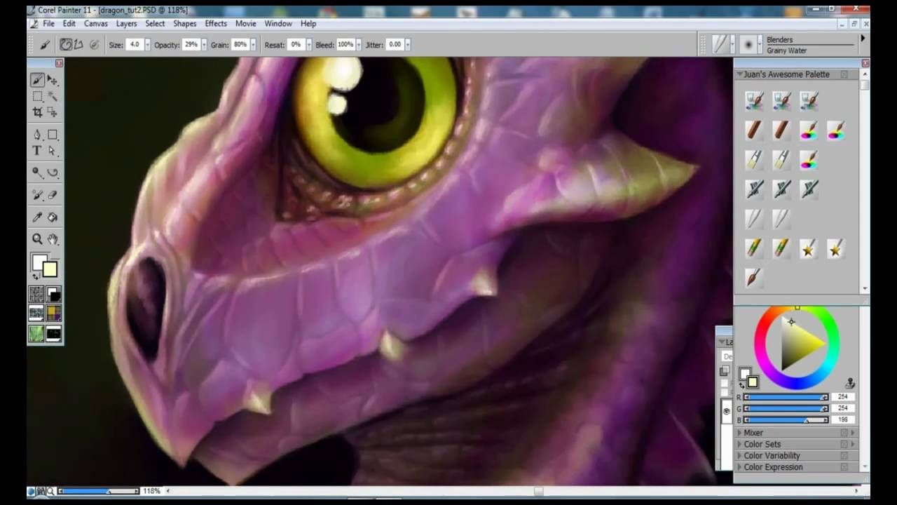 How to Draw & Paint a Baby Dragon - Corel Painter & Wacom Intuos 3 ...