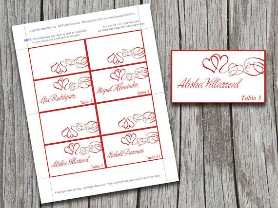 diy heart swirls tent place cards microsoft word template