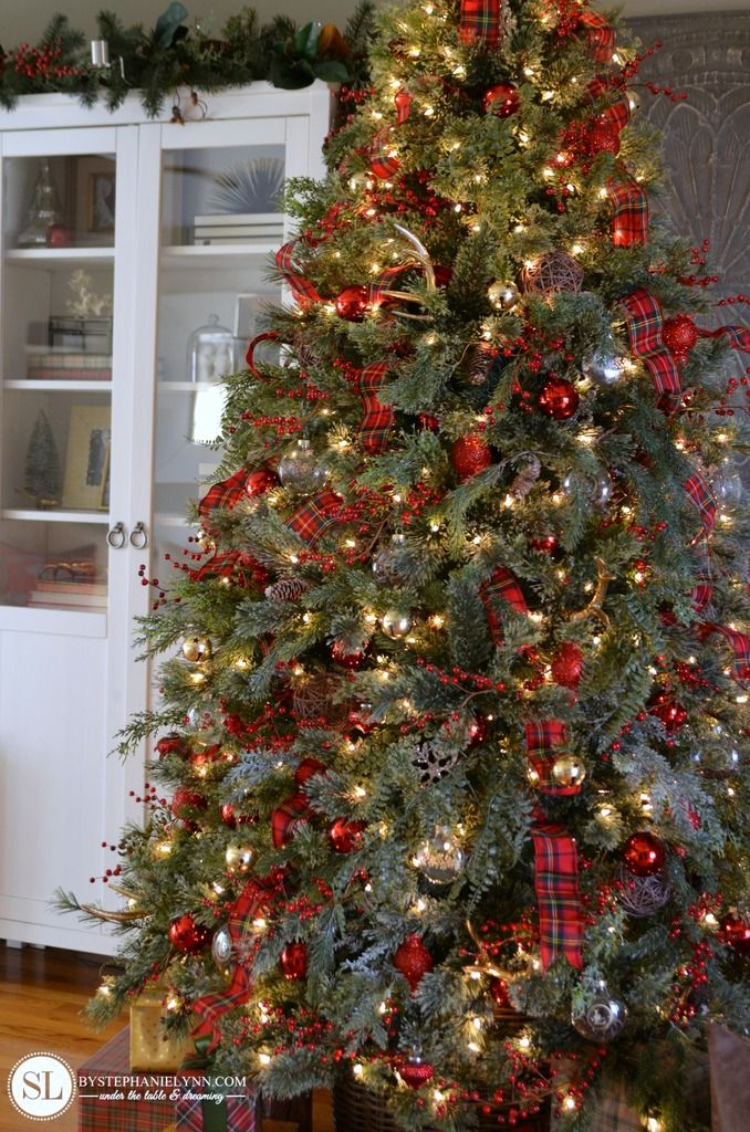 Traditional Red Tartan Christmas Tree #michaelsmakers - Traditional Red Tartan Plaid Christmas Tree For Me, Donna