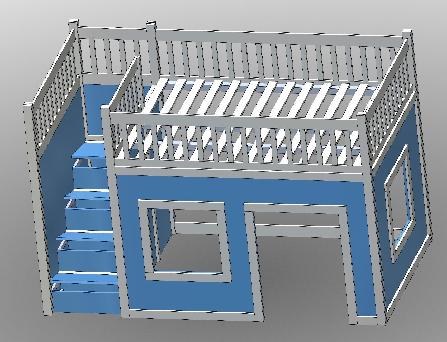 Homemade loft bed with desk  Ana White  Build a Full Size Playhouse Loft Bed with Storage Stairs