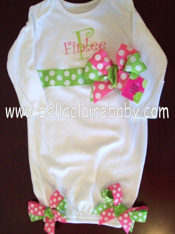 c7fbe0721 Custom personalized layette gown sleeper gift for baby girl newborn ...