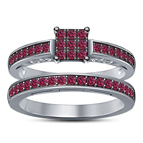 14k White Gold Plated Pink Sapphire Bridal Ring. Starting at $1