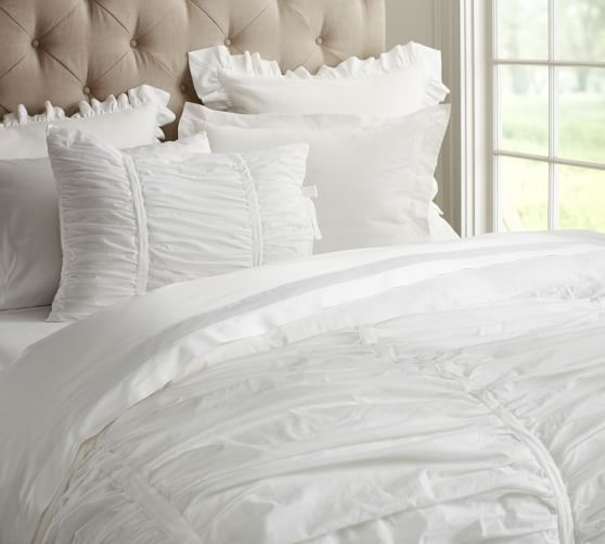 Hadley Ruched Cotton Duvet Cover Amp Shams White Bedding