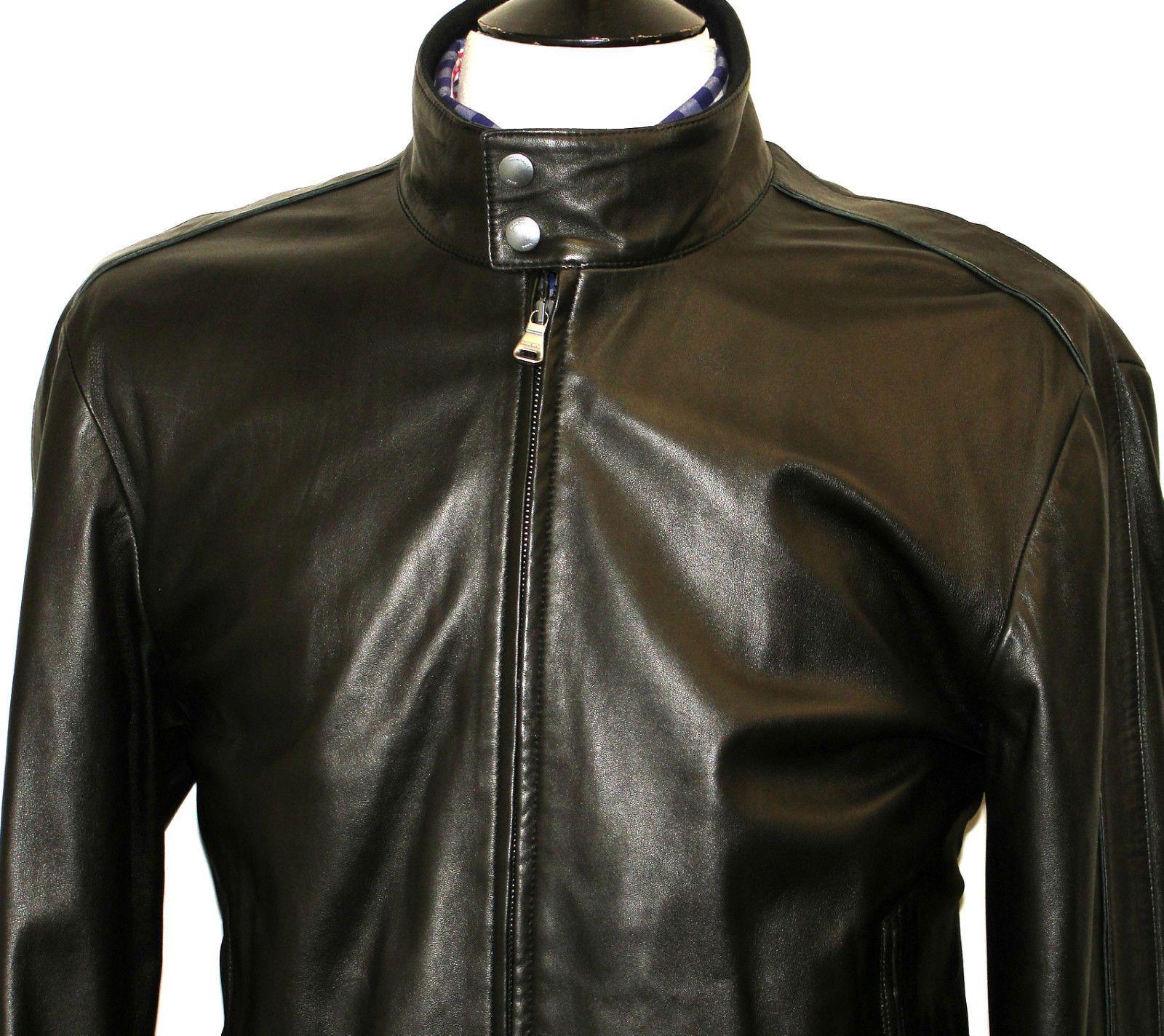 Hugo Boss Jacket (Men's Preowned Soft Black Leather Biker