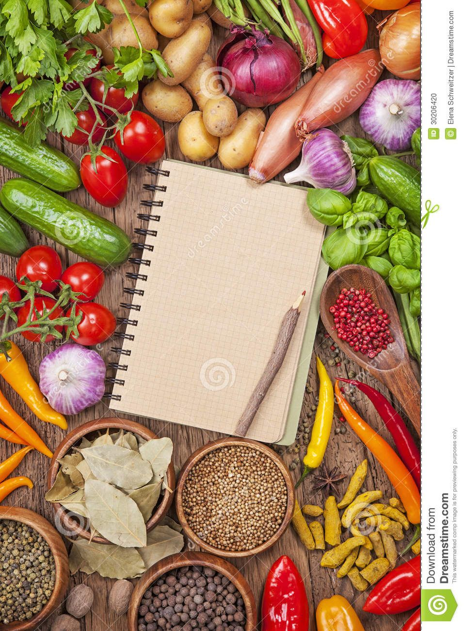 Fresh vegetables and blank recipe book stock photo image fresh vegetables and blank recipe book stock photo image 30206420 forumfinder Images