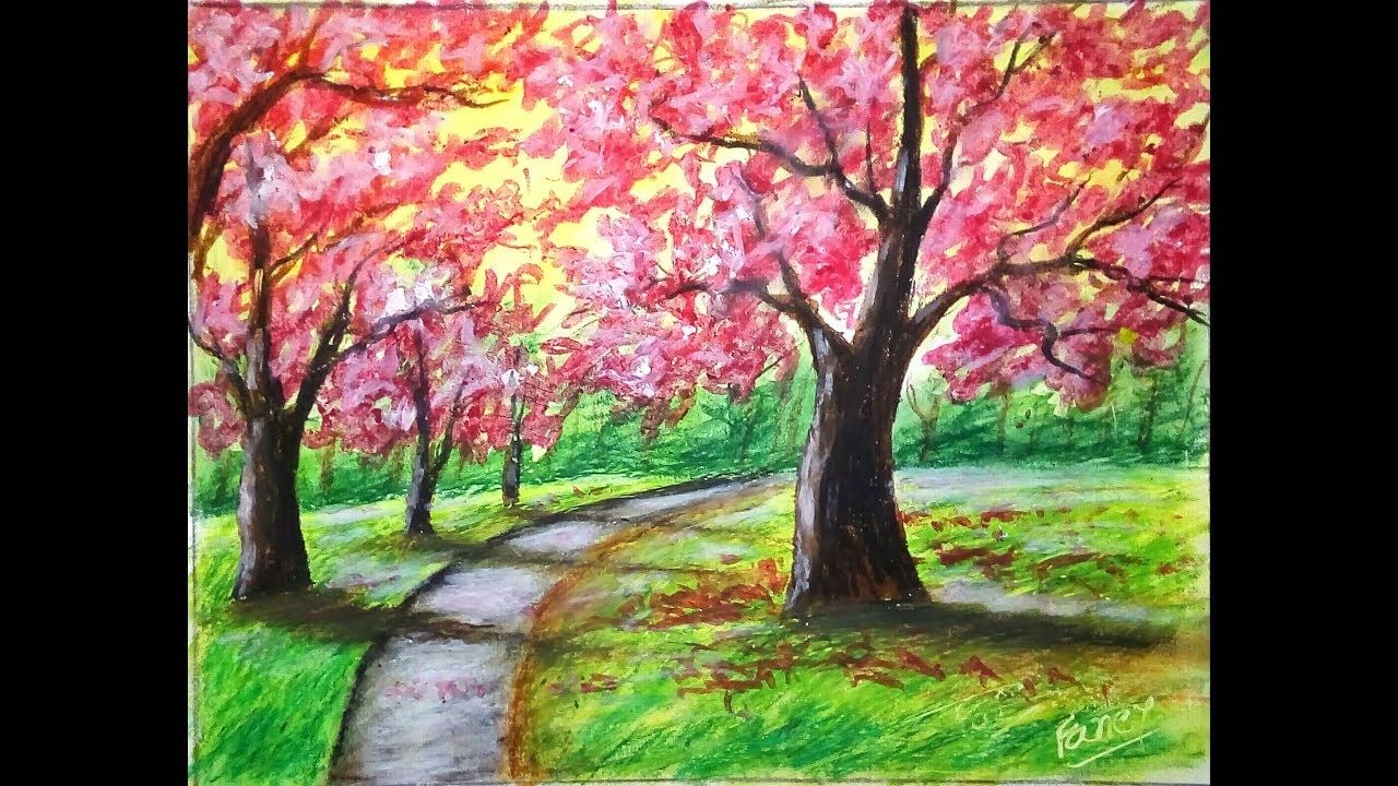 Cherry Blossom Tree Painting With Oil Pastel Cherry Blossom Tree Paintin Oil Pastel Landscape Tree Painting Easy Tree Painting