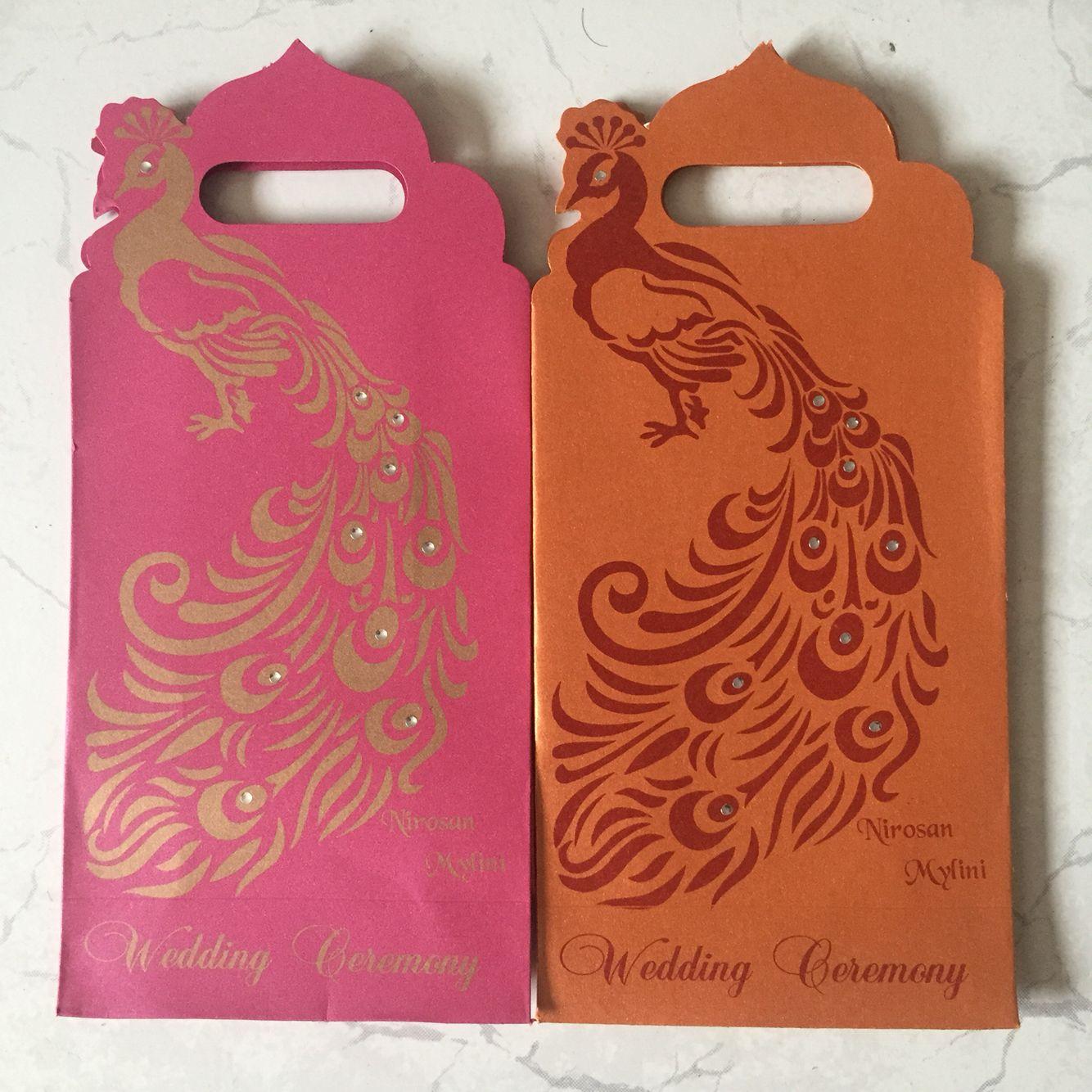 Indian wedding gift bags peacock orange & pink | My Tamil hindou ...