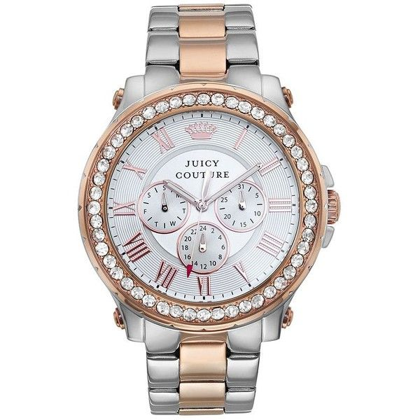 Juicy Couture Women's Pedigree Crystal Two Tone Watch ($295) ❤ liked on Polyvore featuring jewelry, watches, silver, crystal jewellery, crystal jewelry, crystal watches, two tone jewelry and juicy couture watches