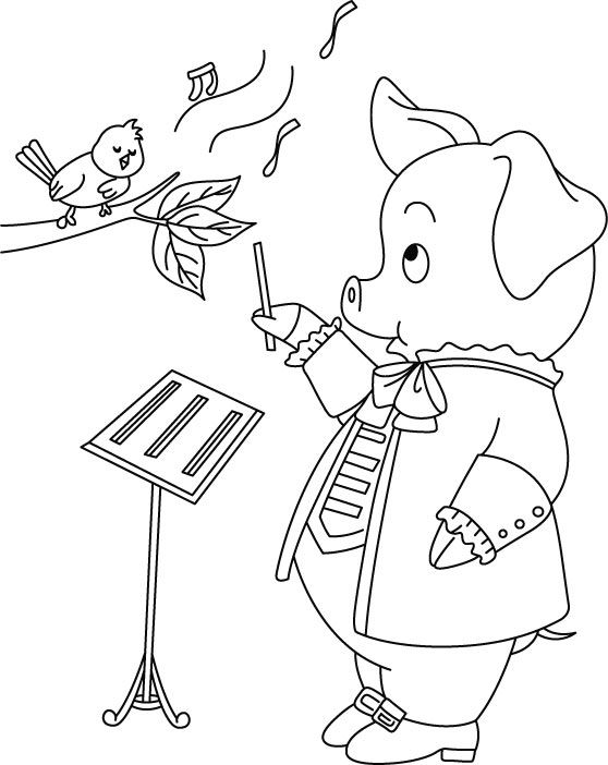 Free Printable Pig thinking- career in singing coloring pages and ...