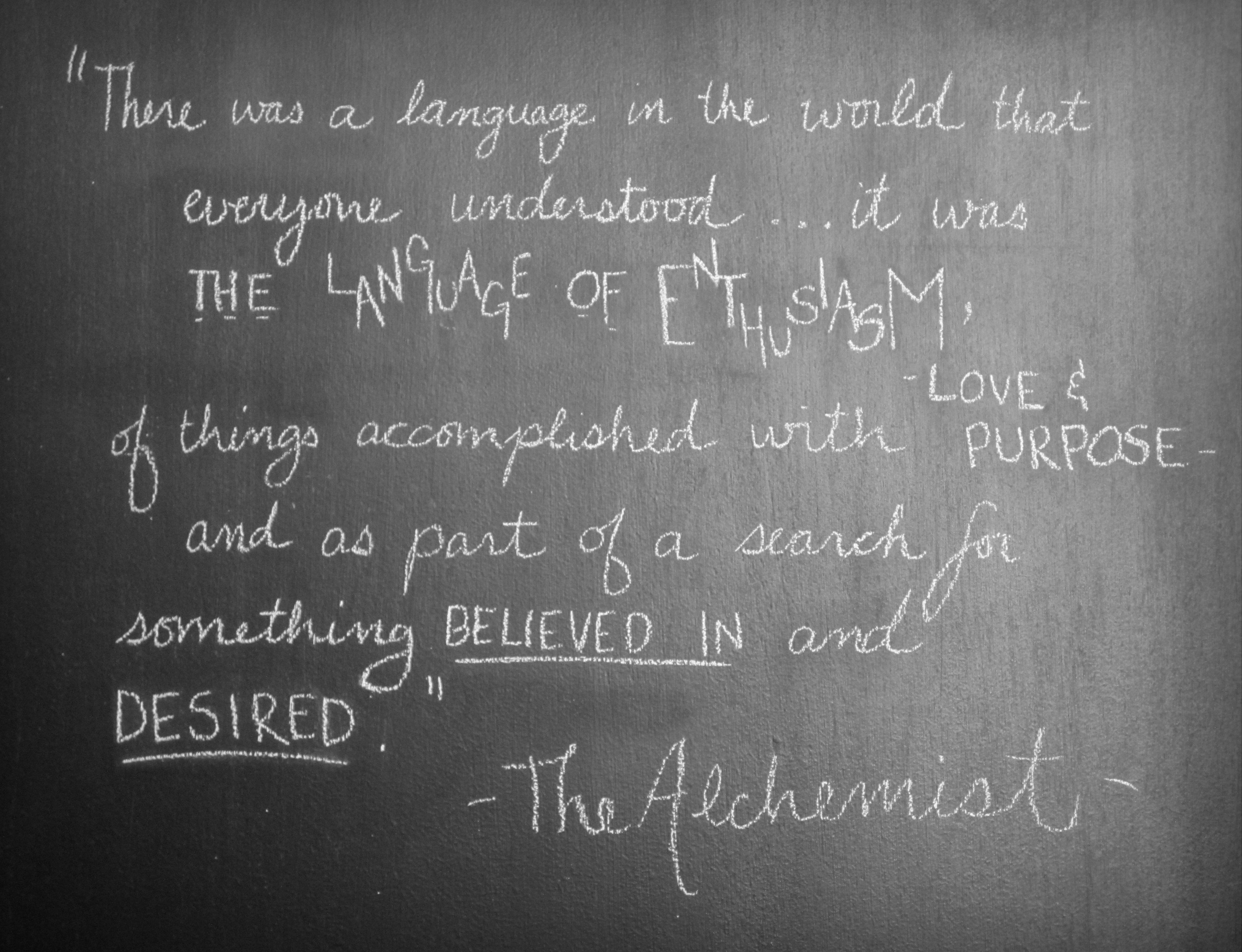 There was a language in the world that everyone understood... it was the language of enthusiasm, of things accomplished with love and purpose, and as part of a search for something believed in and desired. (The Alchemist)