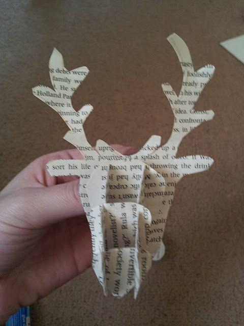 tutorial: book page deer head decoration